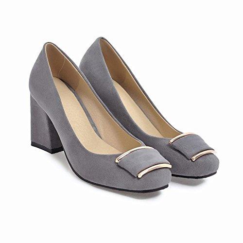 Carolbar Women's Elegant Charm High Heel Square Toe Bow Court Shoes Grey gNH0dY