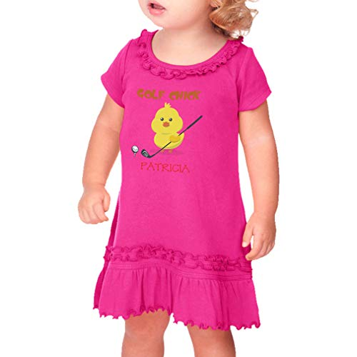Personalized Custom Golf Chick Taped Neck Toddler Short Sleeve Girl Ruffle Cotton Sunflower Dress - Hot Pink, 24 Months