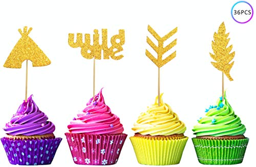 ZOIN 36 Pcs Wild one cupcake toppers Boho Tribal Arrow Feather Teepee for birthday theme Party Supplies Decoration with Double Sided Glitter Stock (Gold) (Best Indian Appetizers For A Party)