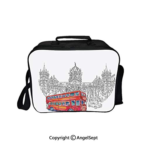 - Reusable Lunch Bag With Adjustable Shoulder Strap,Historical Ethnic Architecture Railway with Red Bus Monument Culture Illustration Decorative Grey White 8.3inch,Office Work Picnic Hiking Beach Lunch