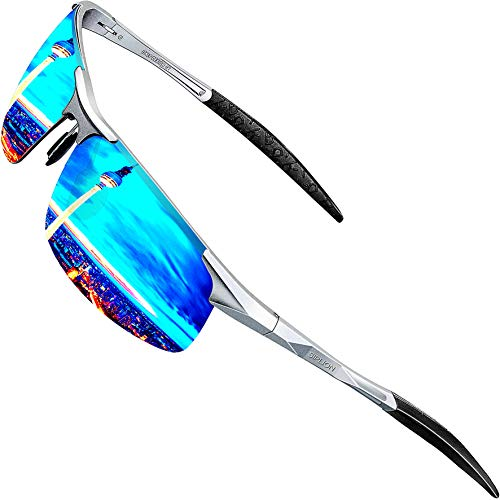 4583b5e5868 SIPLION Men s Driving Polarized Sport Sunglasses Al-Mg Metal Frame Ultra  Light 8177 Silver+