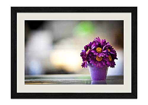 CU.RONG Flower Pot Purple Petals Wood Frame Poster Home Art Deco Picture Print Framed Painting(16x24 in Black Frame)