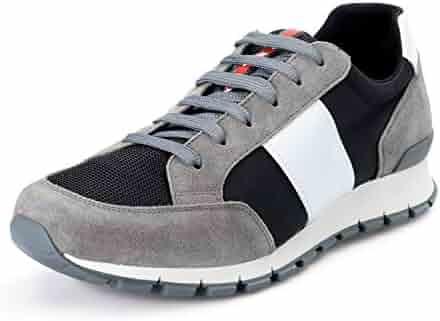 55bceff4e38e Prada Men s Gray Suede Leather Canvas Fashion Sneakers Shoes Sz US 11 IT 10  EU 44