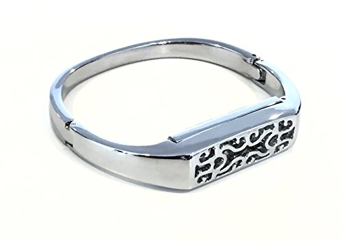 Silver Metal Band for Fitbit Flex 2 Activity Tracker Vintage Floral Design Replacement Bangle for Fitbit Flex 2 Bracelet Pendant Slim Band (Hinged Bangle Metal)