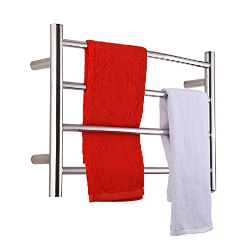 SHARNDY Electric Towel Warmer Curve Towel Bars ETW29 Polish Chrome Hard-Wired and Wall-Mounted, 4 Heated Bars, hot Towel Rack