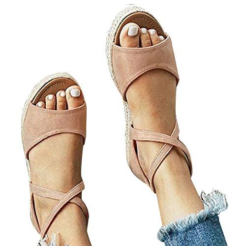 (Athlefit Womens Platform Sandals Flat Strap Espadrille Sandals Criss Cross Size 9 Khaki)