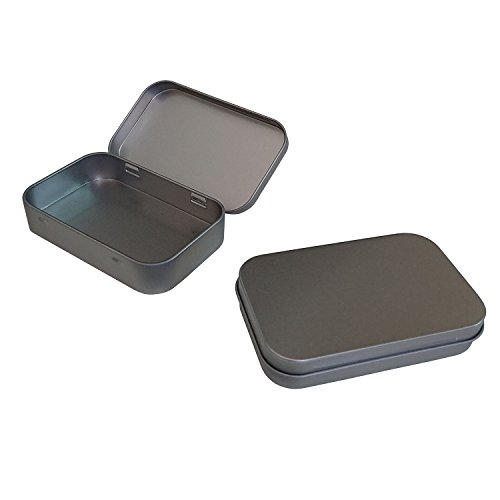 Hulless (2 pcs) Metal Hinged Tin Box Containers for First Aid Kit,Survival Kits,Storage,Herbs,Pills,Crafts and More.