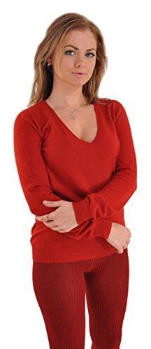 Incomparable Pure Italian Cashmere V-Neck Sweater - Medium (6-8) Merlot (Italian Cashmere Sweater compare prices)