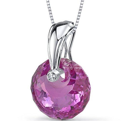 Peora Spherical Cut 22.00 carat Created Pink Sapphire Necklace in covid 19 (Brilliant Cut Pink Sapphire Necklace coronavirus)