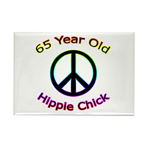 CafePress Hippie Chick 65th Birthday Rectangle Magnet Rectangle Magnet, 2