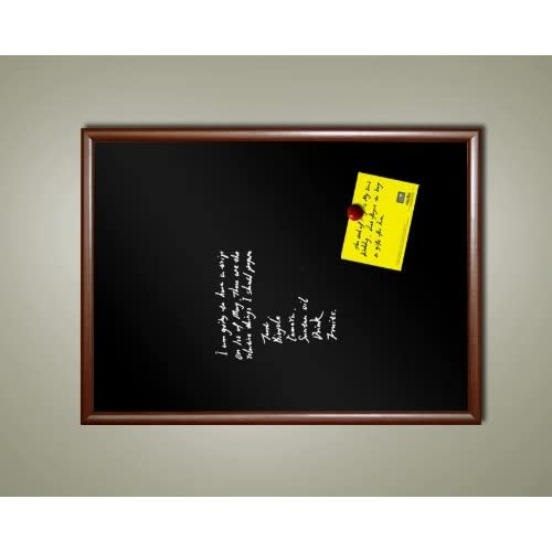 "Top 24"" x 18"" Framed Magnetic Black Chalk Board (Dark wood tone frame)"