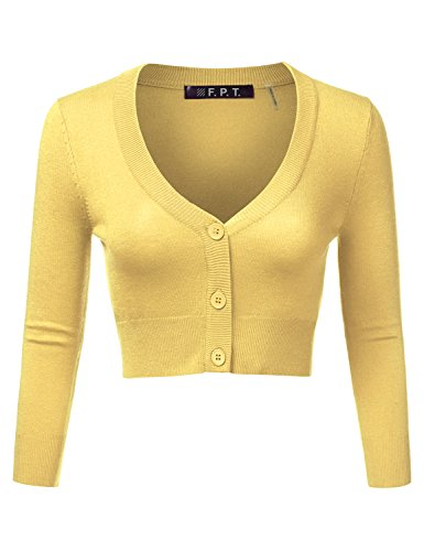 Fifth Parallel Threads Button Down 3/4 Sleeve Cropped Cardigan BABYYELLOW 2X