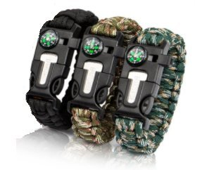 MVM Co. 3Pack 5 in 1 Paracord Bracelet - Survival Gear Kit with Embedded Compass, Fire Starter, Emergency Knife & Whistle, Slim Buckle Design - Pack of 3