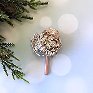 Abbie Home Handmade Full Rhinestone Covered Boutonniere Brooch Crystal Suit Pin Wedding Prom Ball Roses Silk Flower (Blush Pink Boutonniere) 91