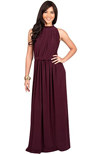 KOH KOH Womens Long Sexy Sleeveless Bridesmaid Halter Neck Wedding Guest Summer Flowy Casual Brides Formal Evening Gown Gowns Maxi Dress Dresses for Women, Mulberry Wine Red L 12-14 (2) - Maxi Dresses For Women For Church