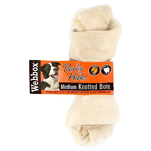 (Webbox Porky Hide Premium Beef & Sizzling Bacon Flavours Medium Knotted Bone - Pack of 6)