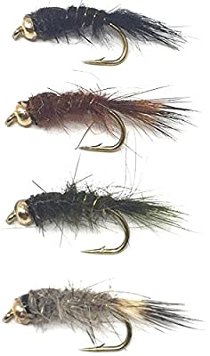 Feeder Creek Fly Fishing Trout Flies - BEAD HEAD HARE'S EAR ASSORTMENT - 32 Wet Flies - 4 Size Assortment 12,14,16,18 (2 of Each Size) Hare's Ear Natural, Black Brown, and Olive