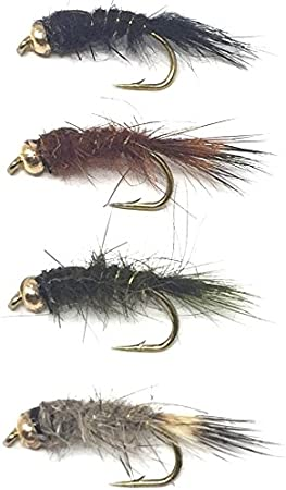 Fly Fishing Flies Grayling Set of 3 Black Hot Head Olive Nymph Size 14
