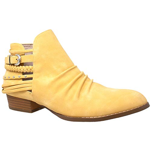 - SOBEYO Womens Ankle Boots Western Block Heel Bootie Strappy Stud Buckle Shoes Yellow SZ 8.5