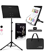 CAHAYA Sheet Music Stand Metal Portable with Carrying Bag Sheet Music Folder, Laptop Stand Sturdy Tripod Base Foldable Solid Back Music Stand for Guitars