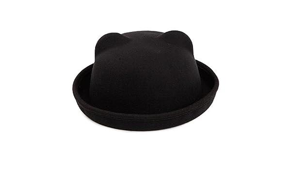 Negro Butterme Ni/ños Roll Brim Dura Cloche Bowler Hat Invierno De Lana De Fieltro Fedora Billycock Cap