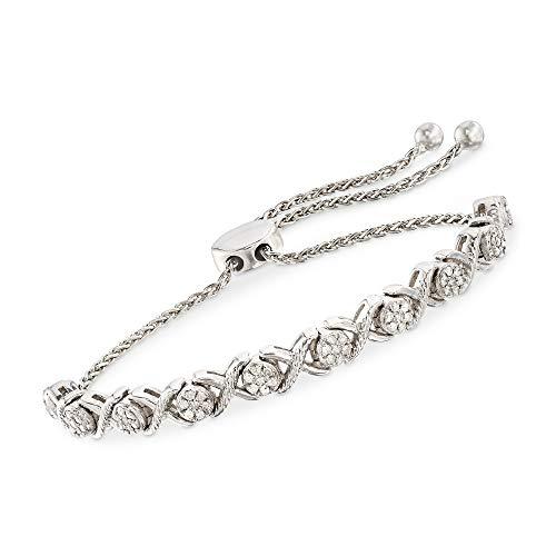 Ross-Simons 0.50 ct. t.w. Diamond Cluster Bolo Bracelet in Sterling Silver (1/2 Ct Tw Diamond Bracelet)
