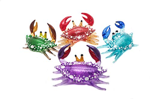 Narphosit Handmade Miniature Art Glass Blown Sparkling Crab Figurine Full Set