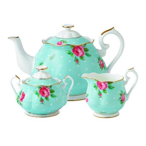 (Royal Albert New Country Roses Polka Blue Teaset, 3-Piece)