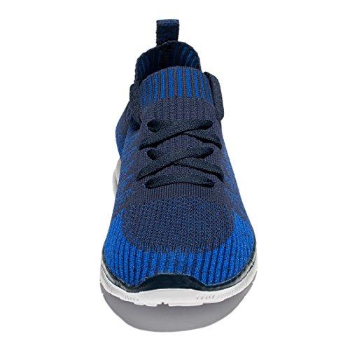 Tianyuqi Herren Wanderschuhe leichte atmungsaktive Lace-Up Fashion Sneakers Blau