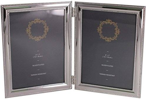 LEADEX Silver Plated Double Sides Picture Frame,Bead Border/Square Border Design,Home Décor Or Gift Item,5 by 7 Inch (Bead Border)