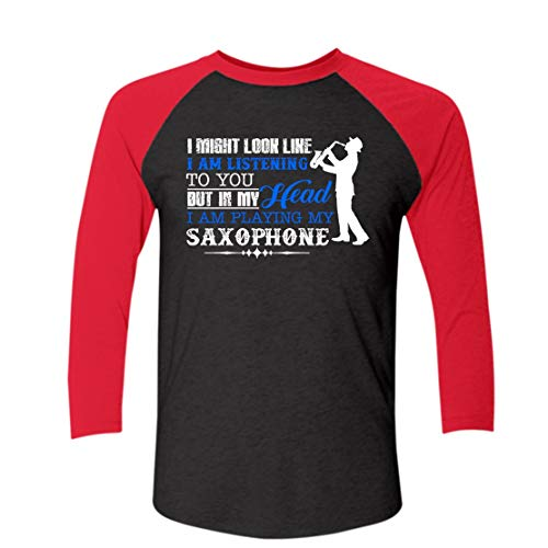 I'm Playing Saxophone It's in My Head 3/4 Sleeve Baseball T Shirt Men Red,XL