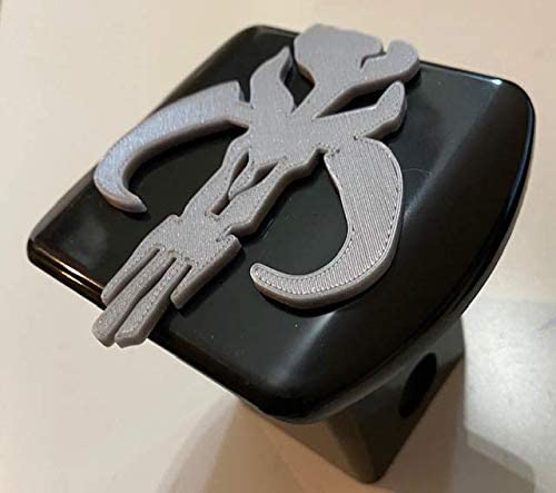 Black with Grey 2 inch Trailer Hitch Cover Stickysight.com Mandalorian Face in 3D