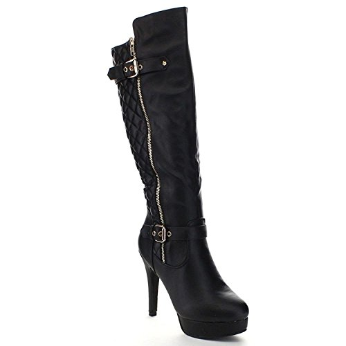 Top Moda Win-6 Women's Quilted Knee-High Stiletto Heel Platform Boots (5.5, (Quilted Stiletto Boots)