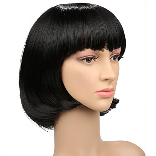 ACEVIVI Fashion Women Short Hair Wig Straight Bob Style Custome Cosplay Wig,Front Length: 16cm/ 6.24 inch, Back Length: 30cm/ 11.7 inch,Black - Custome Wigs