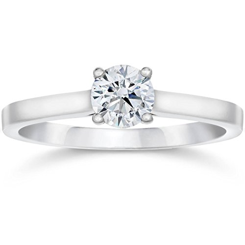 5/8ct Diamond Solitaire Engagement Ring 14K White Gold - Size 5