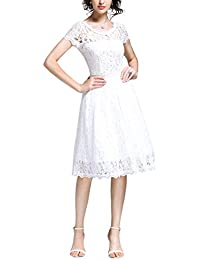 Women's Retro Floral Lace Cap Sleeve Vintage Rockabilly Swing Prom Party Bridesmaid Dress
