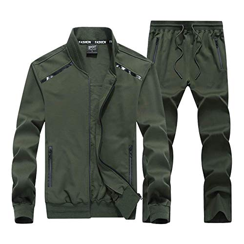 INVACHI Mens 2 Pieces Athletic Full Zip Sports Sets Jacket & Pants Active Fitness Jogging Sweat Tracksuit Set Army Green