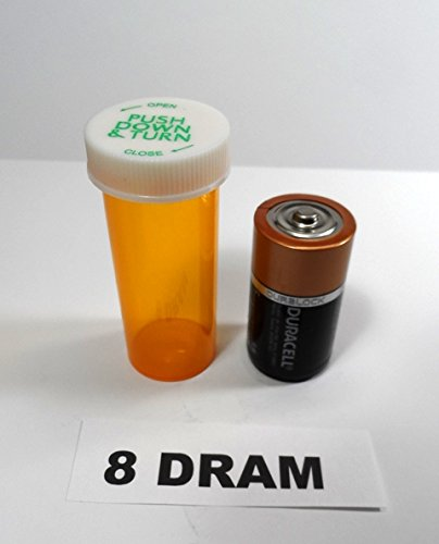 Plastic Prescription Vials/Bottles 25 Pack w/Caps 8 Dram - Prescription Prescription