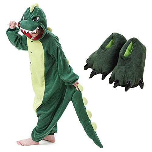 Kids Unisex Dragon Onesie Pajamas Animal Costume Sleepwear with Monster Slipper (Green Size -