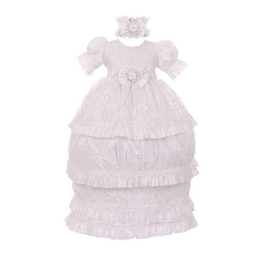 RainKids Baby Girls White Shantung Sequin 3 Pc Headband Baptism Gown 0-18Mo by The Rain Kids