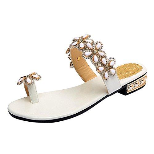 8b053a26aab LuckyGirls Sandalias Mujer Verano Zapatos Rhinestones de Floral Partido  Chancleta Bohemia Estilo Moda Chanclas Vacaciones Casual