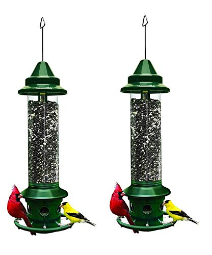 "Brome,Squirrel Buster Plus 6""x6""x28"" (w/hanger) Wild Bird Feeder with Cardinal Ring and 6 Feeding Ports, 5.1lb Seed Capacity, 2 Pack"