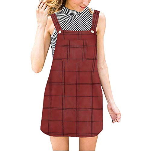 Denim Dress for Women Sleeveless Plaid Overall A Line Strap Corduroy Pinafore with Bib Pockets Dresses (XL, Red) ()
