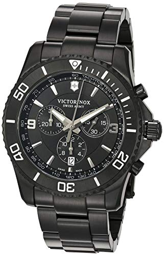 Victorinox Men's Maverick Swiss-Quartz Stainless-Steel Strap, Black, 22 Casual Watch (Model: 241797)