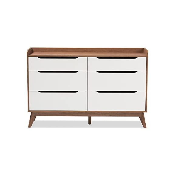 Baxton Studio Chests of Drawers/Bureaus, 6-Drawer Storage Dresser, White/Walnut Brown - Mid-century 6-drawer Chest Finishing: two-tone in white and walnut Smooth drawer runner - dressers-bedroom-furniture, bedroom-furniture, bedroom - 41ZrFIfVjbL. SS570  -