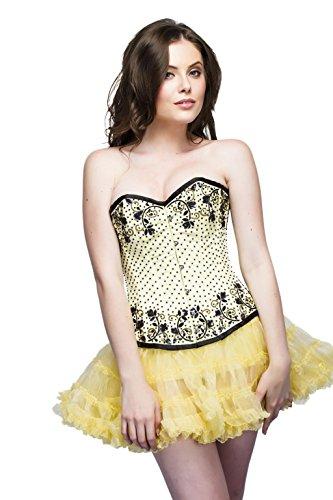 気質迫害するマーチャンダイジングYellow Satin Black Sequins Goth Burlesque Overbust Tissue Tutu Skirt Corset Dress