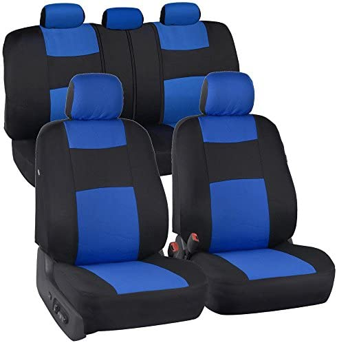 BDK PolyPro Car Seat Covers, Full Set in Blue on Black – Front and Rear Split Bench Protection, Easy to Install, Universal Fit for Auto Truck Van SUV