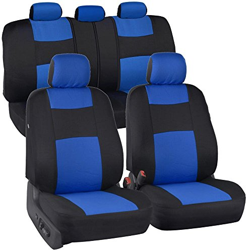 BDK PolyCloth Black/Blue Car Seat Covers - EasyWrap Two-Tone Accent Interior Protection for Auto
