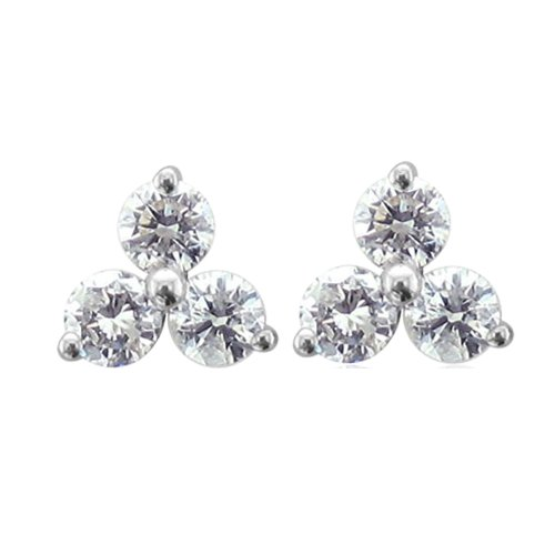 14k White Gold 3 Stone Diamond Stud Earrings (1/3 - Designer 3 Earrings Stone