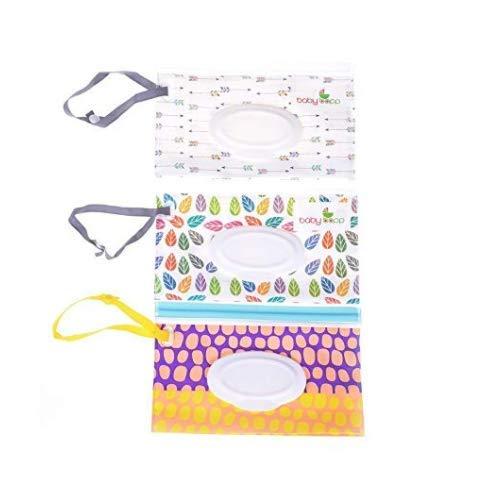 patr/ón aleatorio Bolsa de toallitas h/úmedas reutilizable perfecto para viajes o picnic con dispensador de toallitas h/úmedas para beb/é o toallitas personales reutilizable